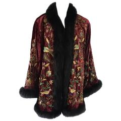 Adrienne Landau Red Velvet and Multi Embroidered Cape with Fox Trim - 10