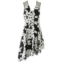 Lela Rose Black and White Floral Illusion Neck Dress