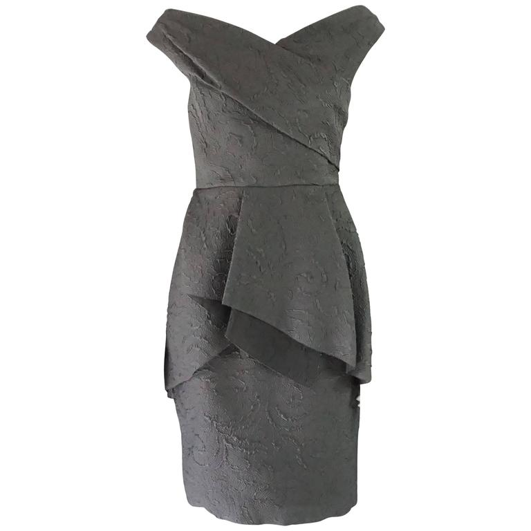 Lela Rose Charcoal Sleeveless Dress with Layered Front - 6 1