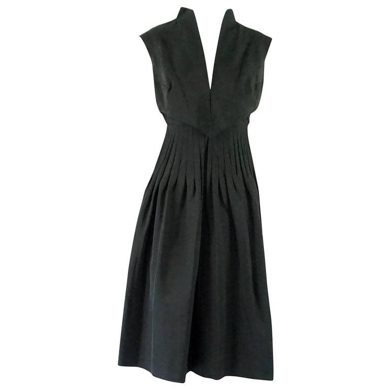 Pauline Trigere Black Silk Pleated Spaghetti Strap Dress - M - 1980's