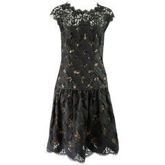 Oscar de la Renta Black and Beige Lace and Taffeta Crisscross Dress - 10