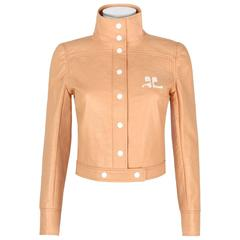 COURREGES PARIS c.1970's Tan Signature Logo Mod Vinyl Faux Leather Snap Jacket