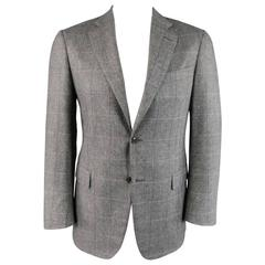 Men's PAL ZILERI 40 Light Grey Purple Windowpane Wool Blend 2 Button Sport Coat