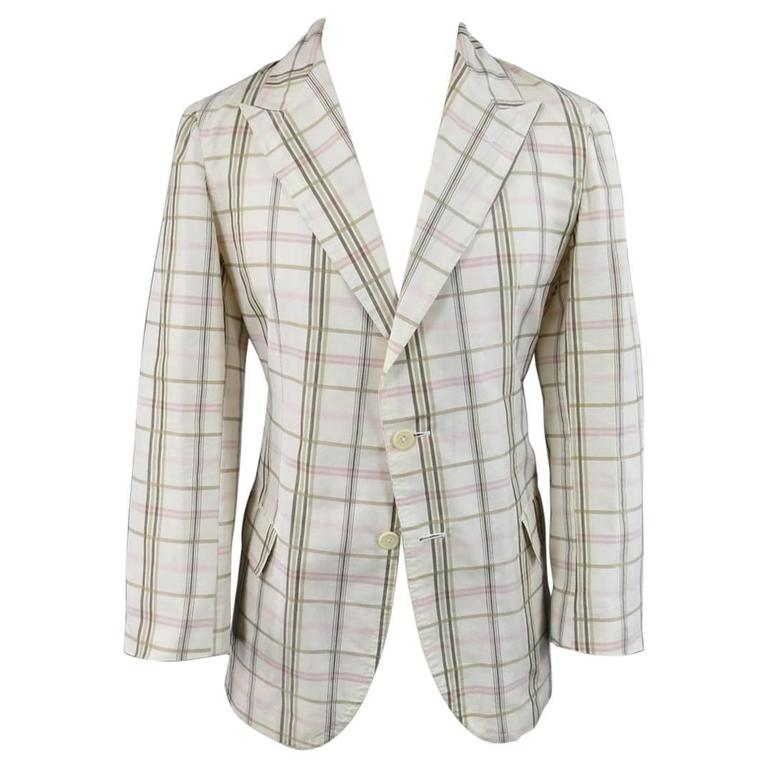 Men's BOTTEGA VENETA 38 Short Cream Cotton / Silk Brown & Pink Plaid Sport Coat 1