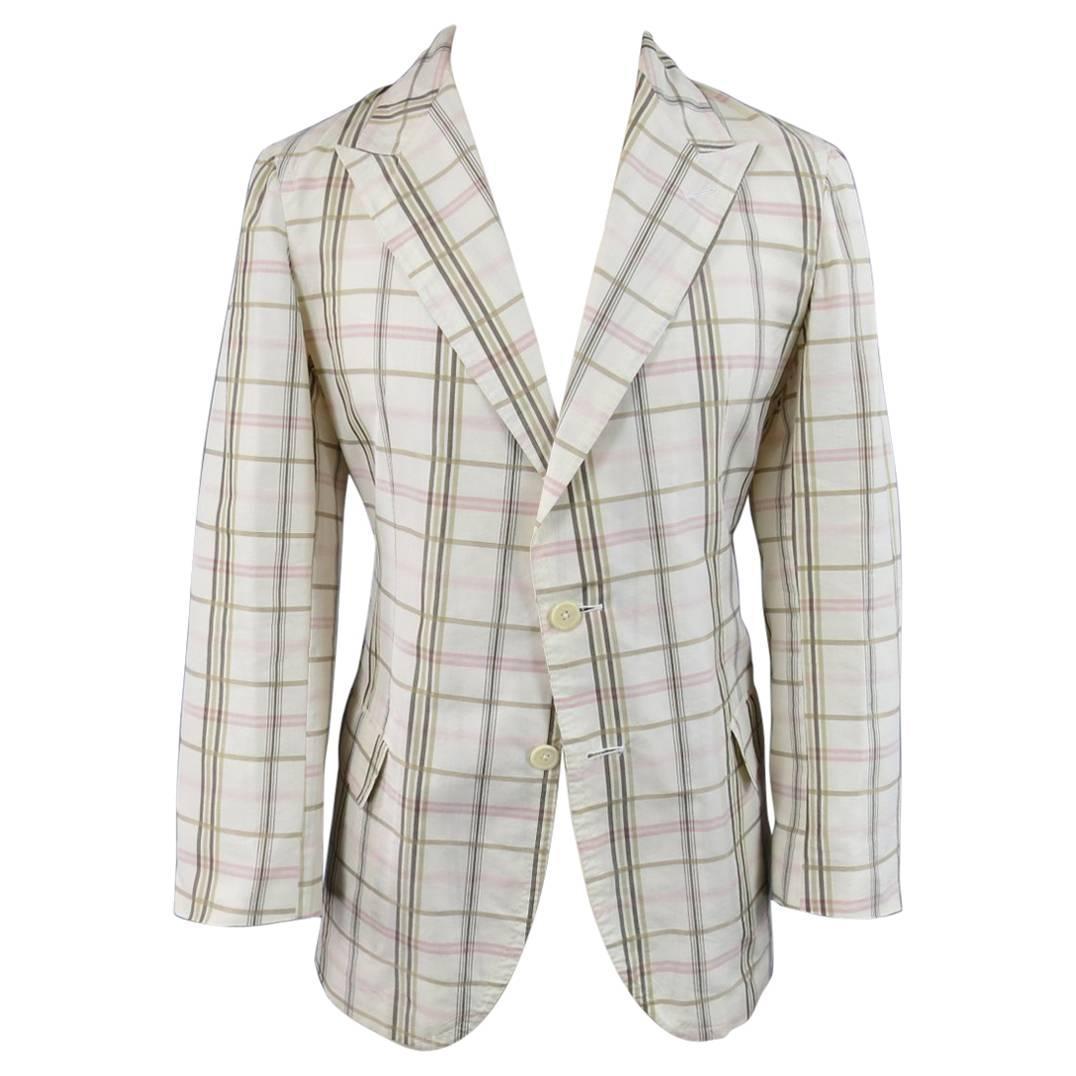 Bottega Veneta Men's 38 Short Cream Cotton / Silk Brown Pink Plaid Sport Coat