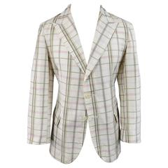 Bottega Veneta Men's 38 Short Cream Cotton / Silk Brown Pink Plaid Sport Coat
