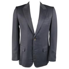Men's YVES SAINT LAURENT Sport Coat 40 Regular Navy Wool Peak Lapel