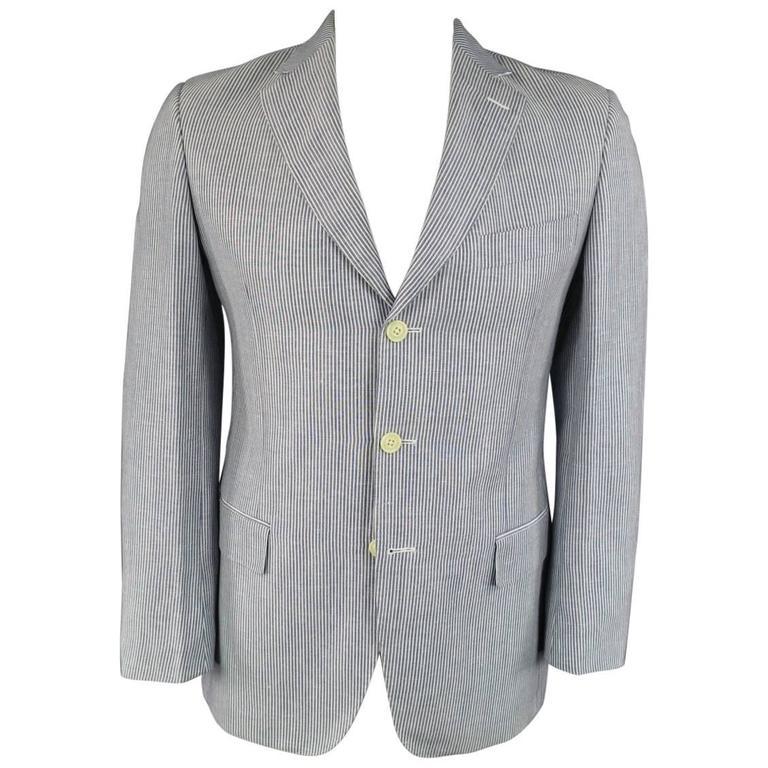 Men's PAL ZILERI 40 Regular Blue & White Striped Linen / Wool 3 Button Sport Coa 1