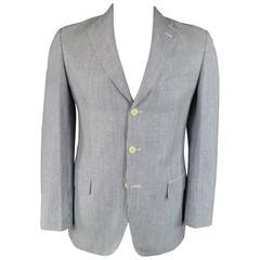 Men's PAL ZILERI Sport Coat - 40R Blue & White Striped Linen Wool 3 Button