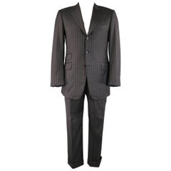 Pal Zileri Charcoal Striped Wool 3 Button Notch Lapel Suit, 40 Regular