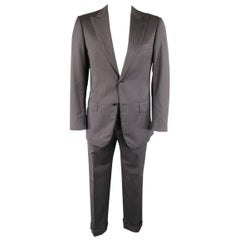 Pal Zileri Charcoal Red and Burgundy Striped Wool Peak Lapel Suit, 40 Regular