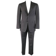 Pal Zileri Charcoal and Lavender Striped Wool/Cashmere Peak Lapel Suit, 40 Reg