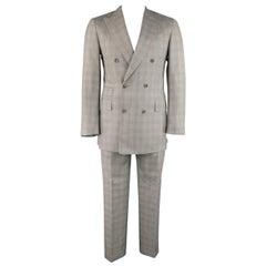 Pal Zileri Light Gray Plaid Wool/Silk Double Breasted Peak Lapel Suit, 40 Reg