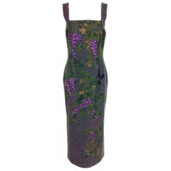 Dolce & Gabbana hand painted wisteria with birds grey flannel sheath dress