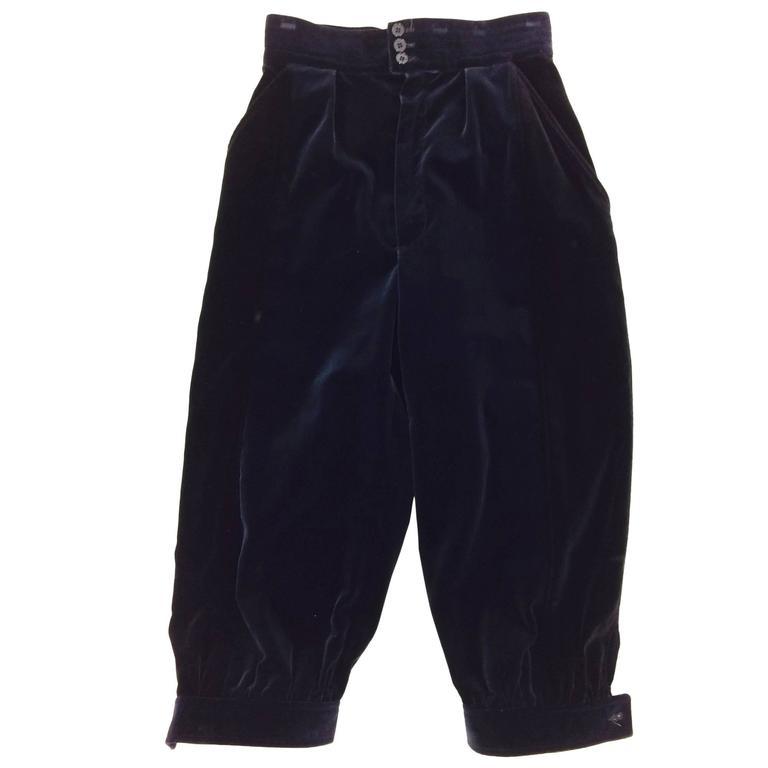 Yves St Laurent navy & black velvet knee breeches 1970s