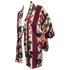 1940s Burgundy Teal And Ivory Floral and Awning Stripe Short Kimono Jacket