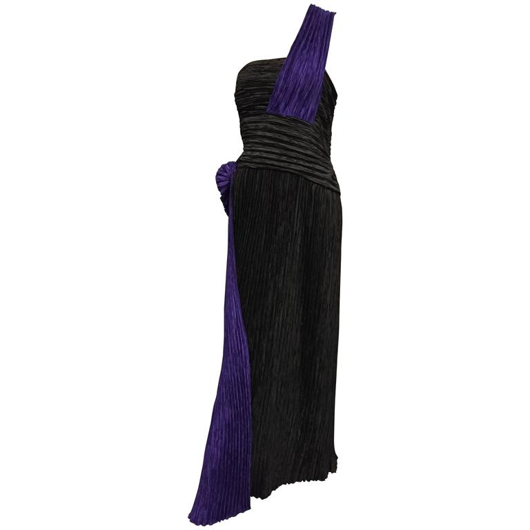 1990's Mary McFadden Fortuny Silk One Shoulder Goddess Gown