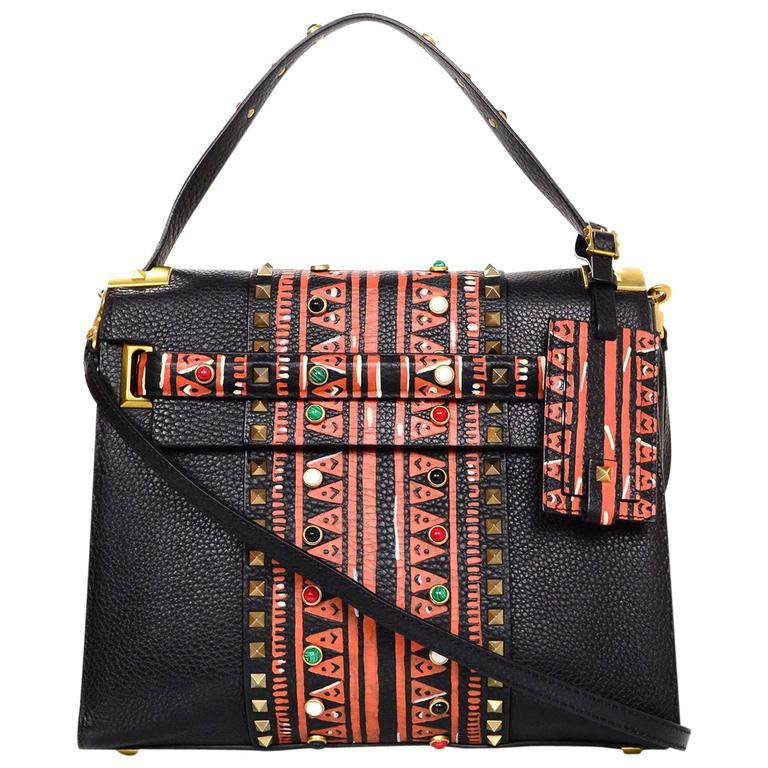 Valentino Black and Red Tribal My Rockstud Handle Bag w/ Strap rt ...