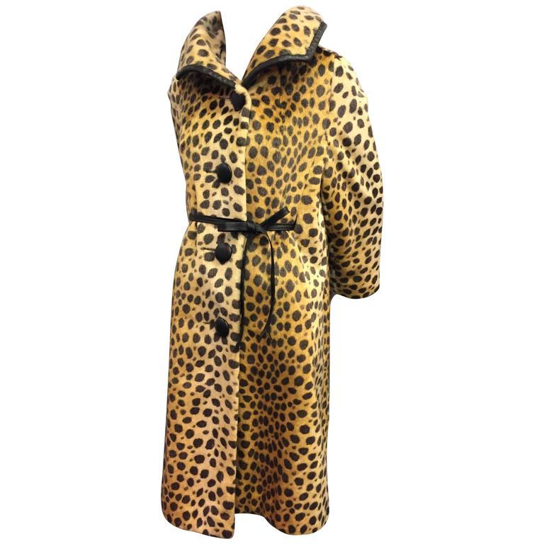1960s Modela Faux Fur Jaguar Print Swing Coat w Leather Trim and Front Tie