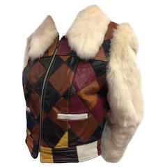 1970s White Rabbit and Multicolor Leather Patchwork Cropped Jacket