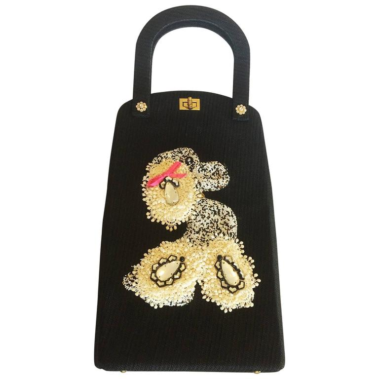 Rare Large Jolles of Paris 1950s Poodle bag