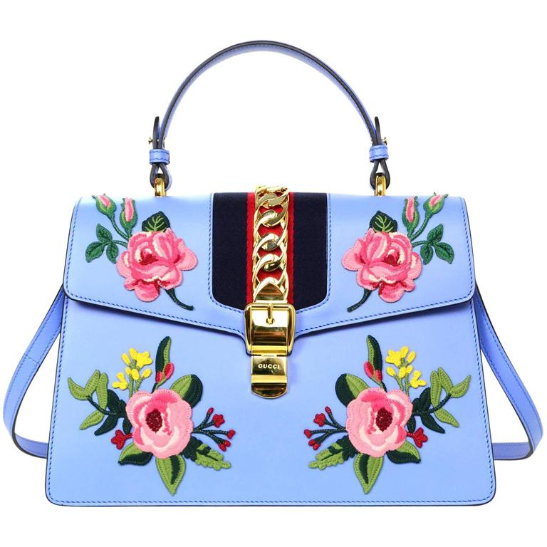 Gucci 2016 Blue Leather Floral Embroidered Sylvie Handle Bag For Sale At 1stdibs