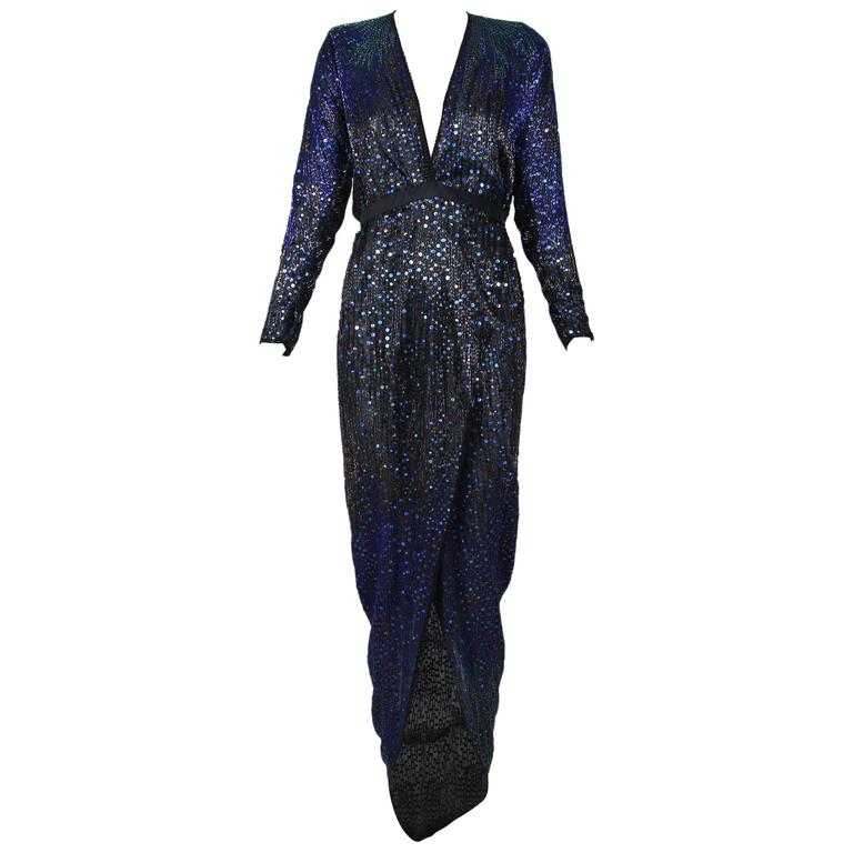 1970\'s Halston Deep V-Neck Beaded and Sequined Silk Evening Gown w ...