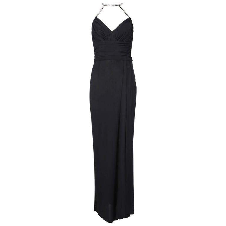 1998 A/H Chanel Black Draped Evening Gown w/Rhinestone Shoulder & Neck Straps