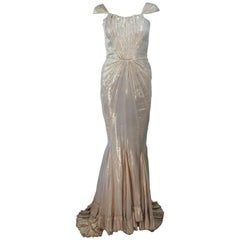ELIZABETH MASON COUTURE Gold Silk Lame Gown Size 2 Made to Measure