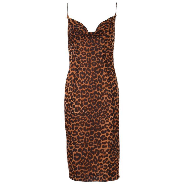1990's John Galliano Silk Leopard Print Slip Cocktail Dress