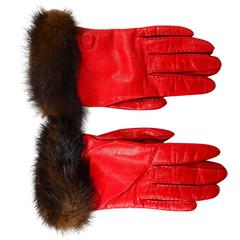 Fendi Red Leather and Mink Gloves Sz 7