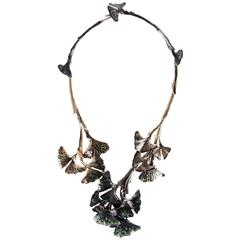 Chanel Hand-Enameled Ginkgo Leaf Motif Articulated Collar Necklace, 2011