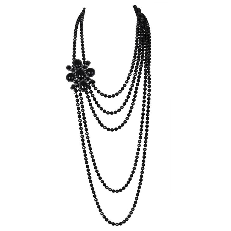2005 Chanel Multi-strand Black Patte de Verre Beaded Sautoir w/Brooch Detail 1