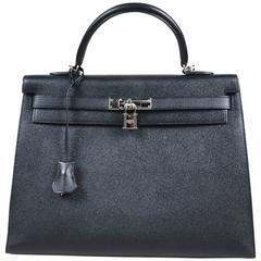 "Hermes Noir Black Epsom Leather Palladium ""Kelly 35 Sellier"" Flap Tote Bag"