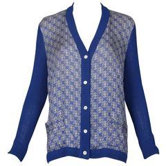 Vintage Hermes Silk & Cotton Knit Printed Long Sleeved Cardigan Sweater