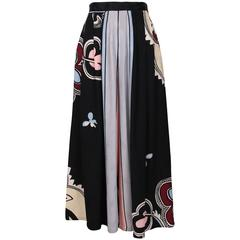 Michaele Vollbracht Silk Abstract Graphic Printed Palazzo Pants