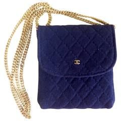 Vintage Chanel navy quilted jersey fabric mini pouch, coin purse, long necklace.