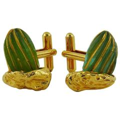 Hilton Mac Connico for Daum Vintage Pate de Verre Cactus Cufflinks