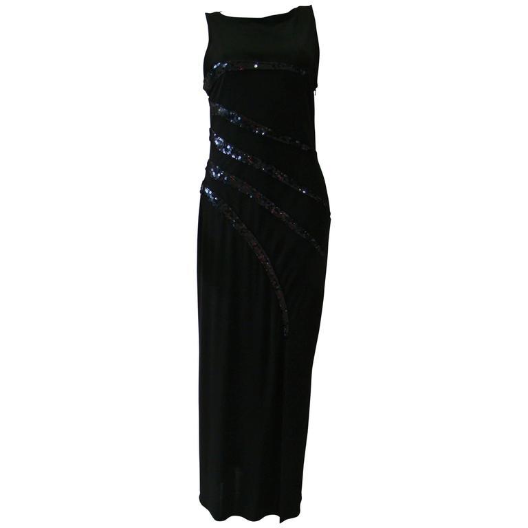 Loris Azzaro Black Sequin Detail Evening Dress