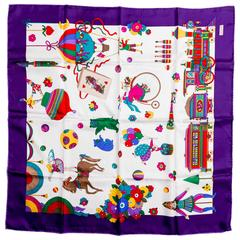 Gucci Purple Silk Circus Collection Scarf