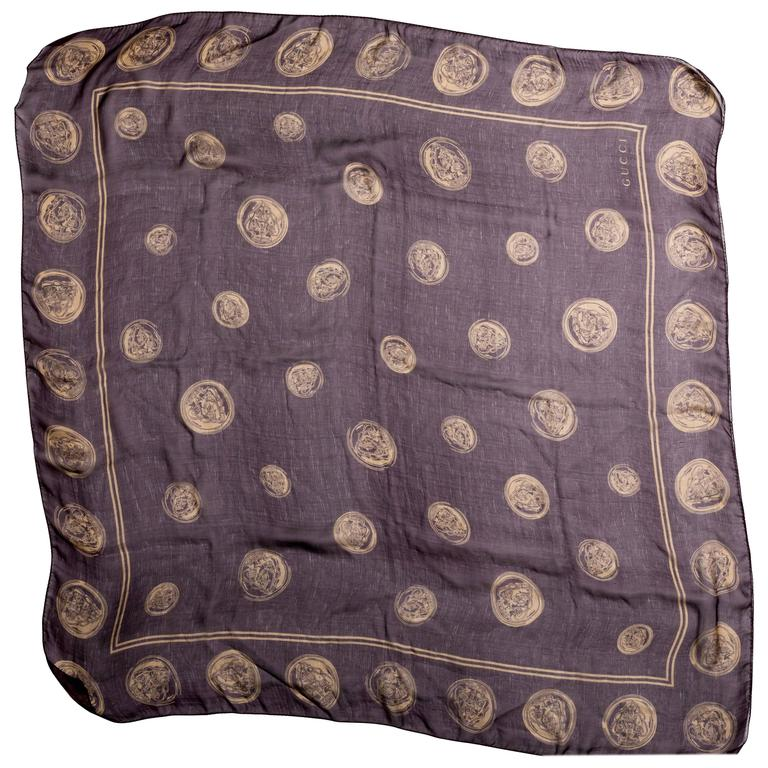 Gucci Aubergine Silk Scarf with Gold Coins  For Sale