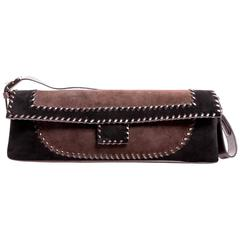 Ferragamo Black and Brown Suede Whipstich Shoulder Bag