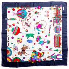Gucci Silk Circus Collection Scarf with Blue Border