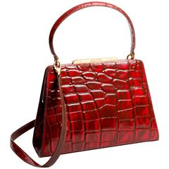Christian Lacroix Structured Stamped Red Leather Bag