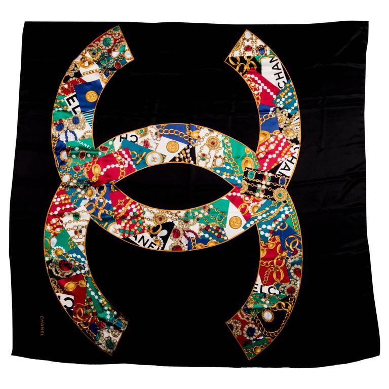 "Large Chanel Black Jewel Print ""CC"" Logo Silk Shawl"
