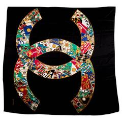"Large Chanel Black Jewel Print ""CC"" Logo Silk Shawl"