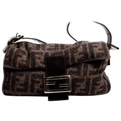 Fendi Cashmere Logo Baguette with Brown Leather Handle