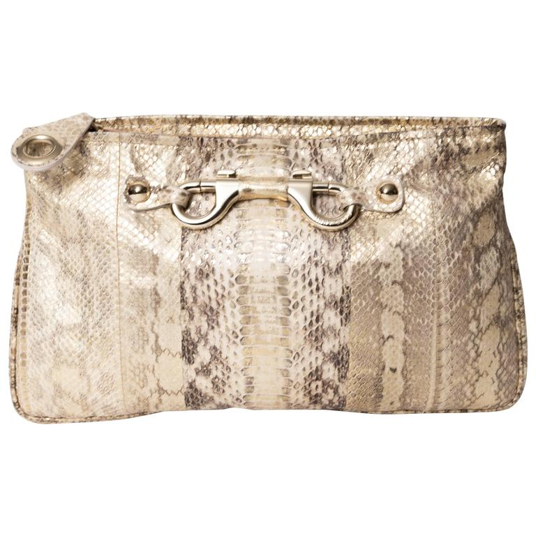 Jimmy Choo Gold and Tan Snakeskin Clutch with Horsebit Accents