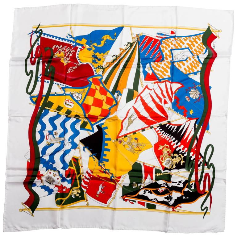 Vintage Silk Banners Gucci Scarf 1