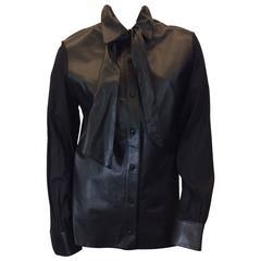 Anna Molinari Black Leather Blouse with Neck Tie